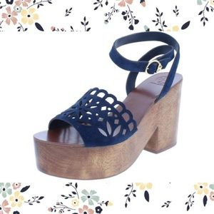 NWOB Tory Burch May Wooden Heels, Sz 7.5